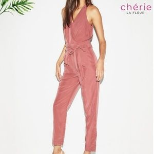 Express | Midnight Rust Belted Jumpsuit - Size 00